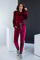 Спортивный костюм велюровый женский бордовый с капюшоном однотонный  42-48р.