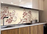 Виниловая наклейка кухонный фартук-скинали 60х300 см ReD Абстрактные завитки (самоклейка на кухню)