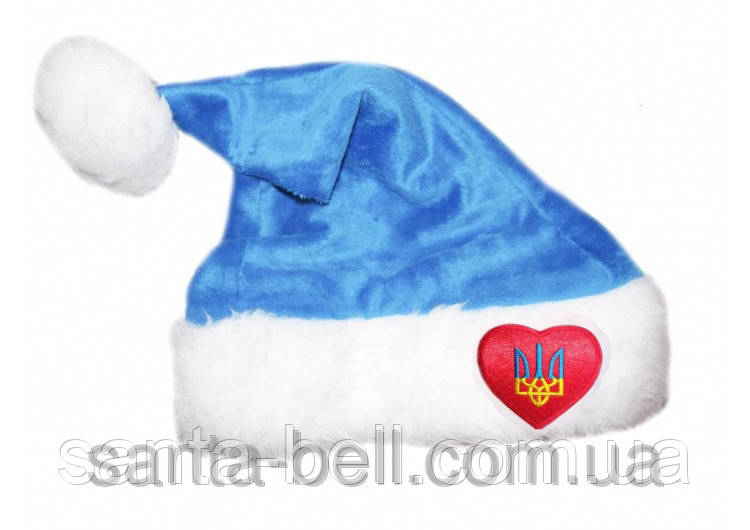 """Новогодняя Шапка  Деда Мороза Колпак Санта Клауса Santa Claus голубая """"Я патриот"""""""