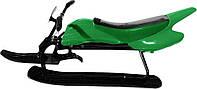 Детский снегоход санки-мотоцикл (снегокат) «Спорт Люкс» Kidigo, зеленый