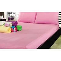 Простынь махровая на резинке Varol - Cotton Castltle розовая 160*200