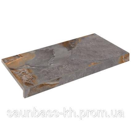 Бортовая Г-образная плитка Aquaviva Ardesia Loft, 595x345x50(20) мм
