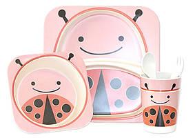 Набір дитячого бамбукового посуду ООПТ Бджілка рожева-2 5 предметів