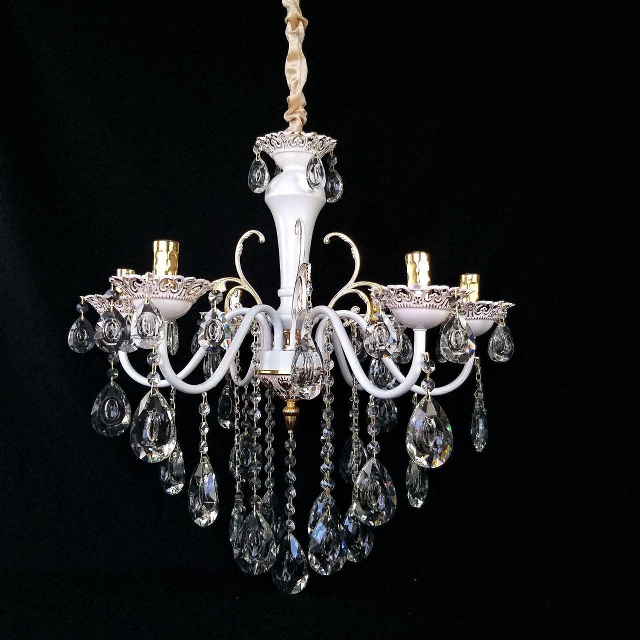 Люстра хрустальная  на 6 рожков белая с золотом JB-29101/6 GD+WT+WT