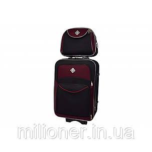 Комплект чемодан + кейс Bonro Style (средний) черно-вишневый, фото 2