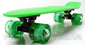 "Penny Board пенниборд Green 22"" Logo. Золотая подвеска! Светящиеся колеса!"