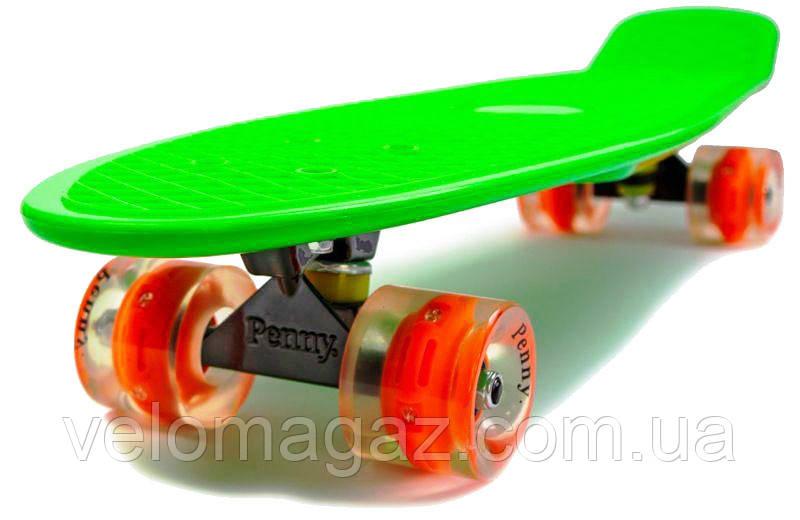 """Пенниборд Nickel 27"""" Green, светящиеся колеса"""