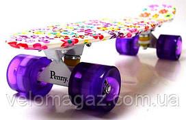 """Пенниборд """"Violet Flowers"""" 22""""  Светящиеся колеса."""