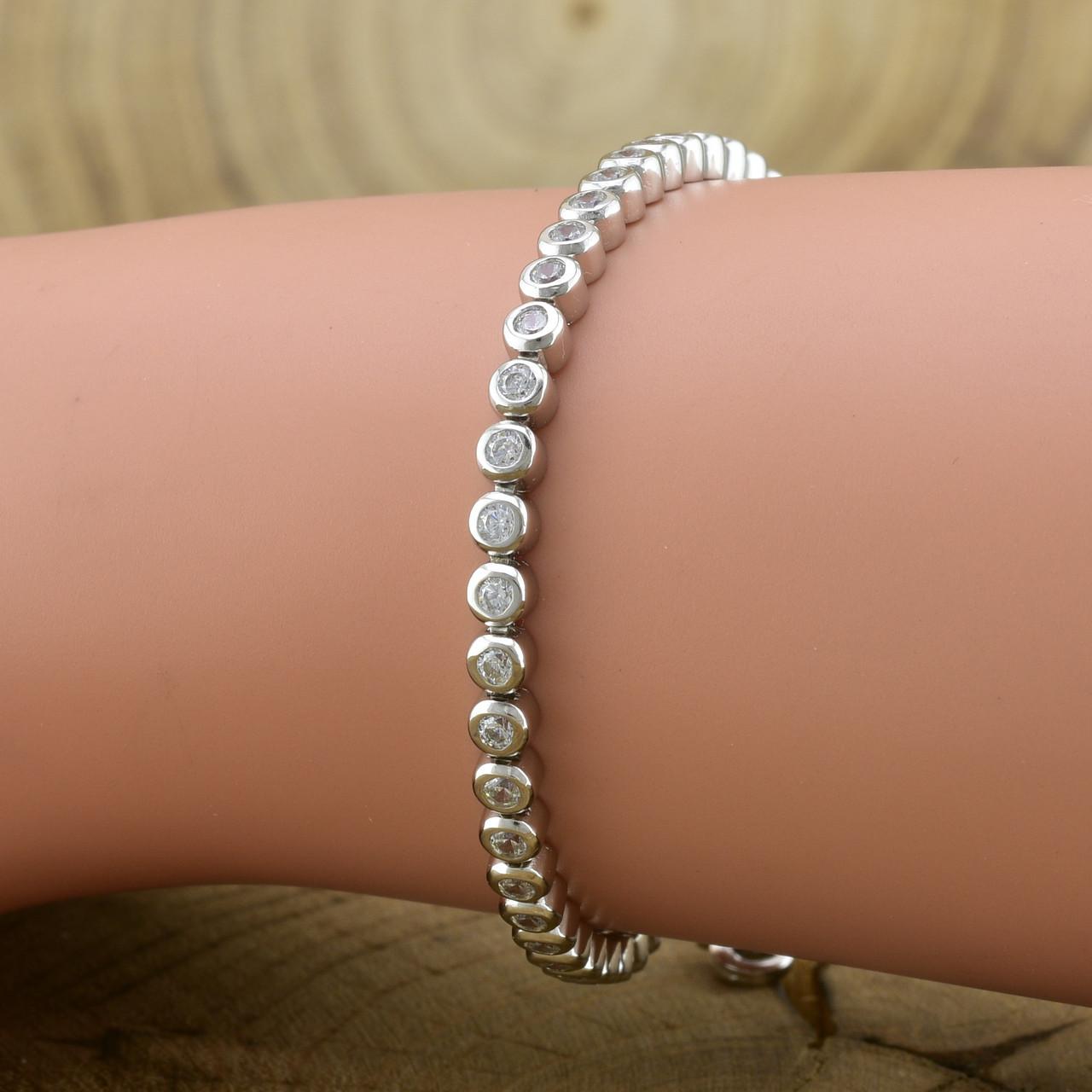 Серебряный браслет длина 15+5 см ширина 3 мм вставка белые фианиты вес серебра 6.42 г