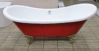 Отдельностоящая акриловая ванна Atlantis C-3140 красная 176х75 (ноги бронза)