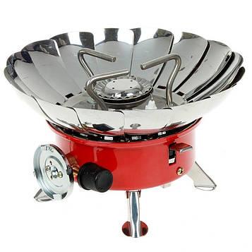 Газовая печь примус с защитой от ветра