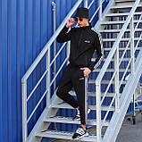 Adidas cпортивный мужской костюм черный весна-осеньМужской демисезонный спортивный костюм!, фото 3