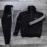 Adidas cпортивный мужской костюм черный весна-осеньМужской демисезонный спортивный костюм!, фото 2