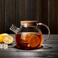 Заварочный чайник стеклянный с бамбуковой крышкой, 1л 599-103