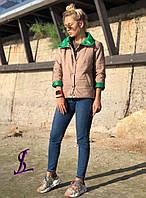 Куртка, Ткань: Плащевка, р-р 42-44, 44-46,  цвет ( Бежевый, Тёмно-синий, Чёрный )