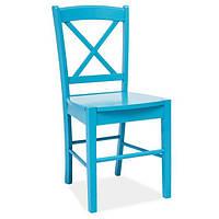 Деревянный стул без обивки Signal CD-56 для кухни голубого цвета Польша