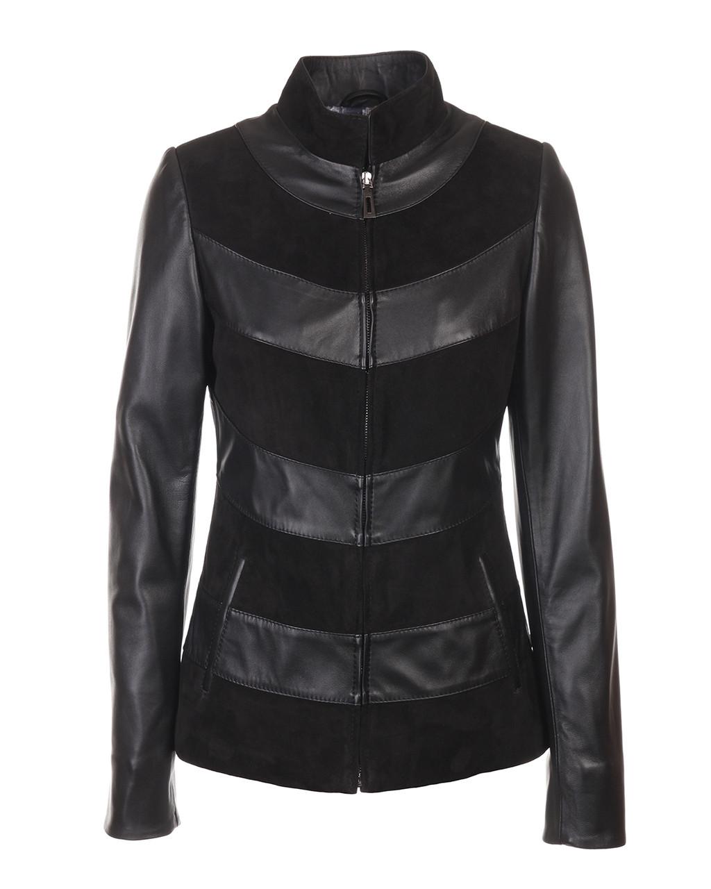Шкіряна куртка VK чорна з замшею коротка (Арт. LIL201) 46 розміру