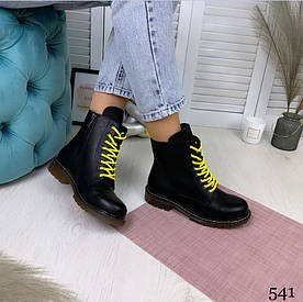Демисезонные женские ботинки на высокой шнуровке черные НАТ.КОЖА//В НАЛИЧИИ ТОЛЬКО 36 40 41p