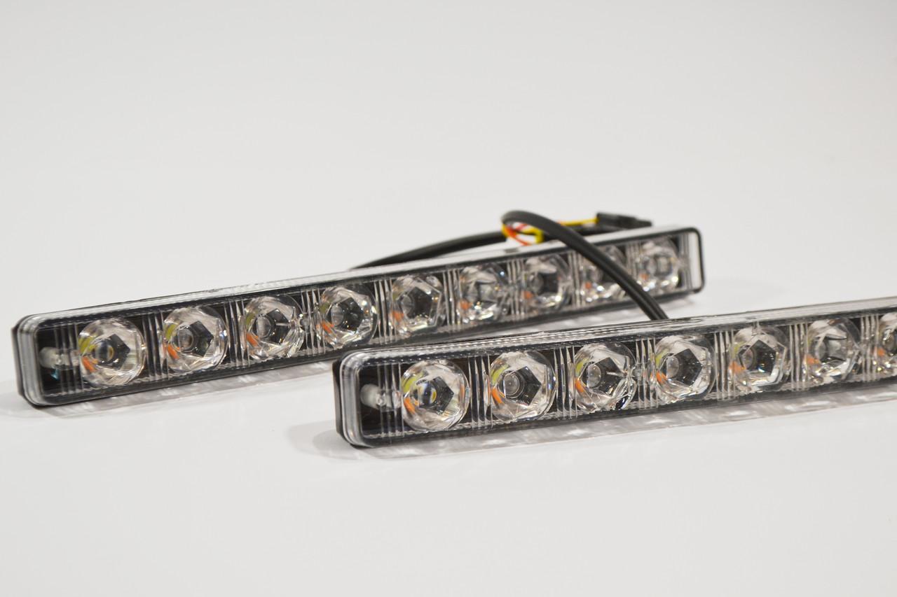 Фара LED прямоугольная 27Вт (плоская) (9диода) (линза и фокус) +  Бегущим поворотником (Комплект)