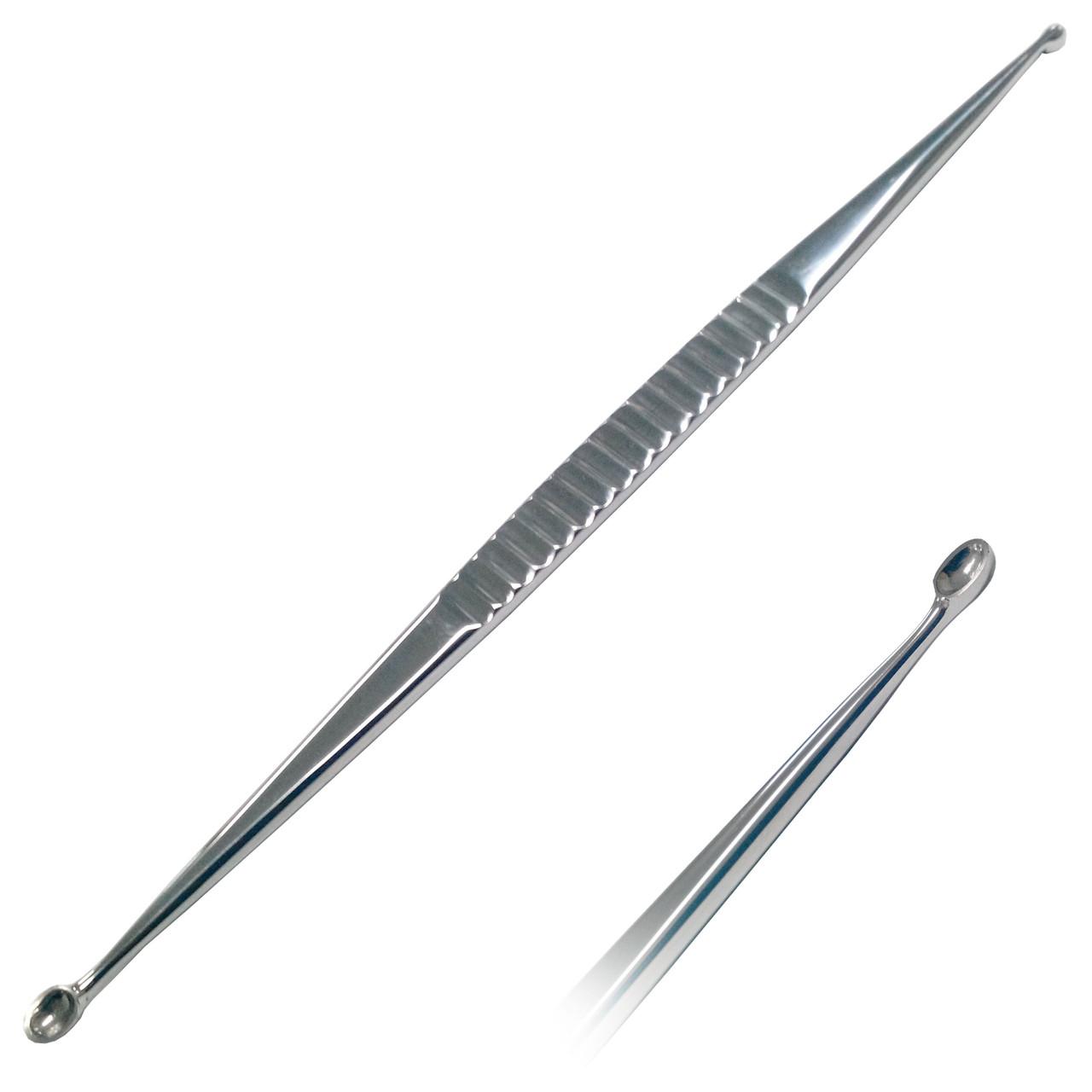 Ложка ушная двухсторонняя острая. Длина 16 см. Размер рабочей части 4 мм и 3 мм Surgiwelomed