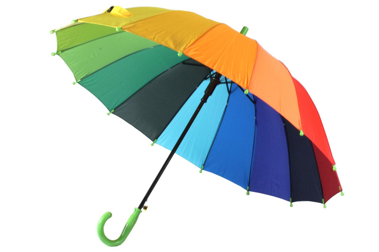 Яркий детский подростковый зонт трость радуга полуавтомат разноцветный на 16 спиц от Flagman (22223)