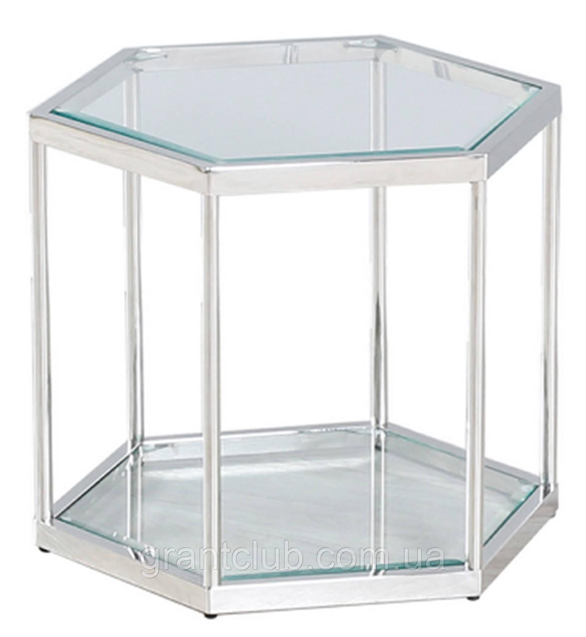 Кавовий стіл СК-1 прозорий+срібло 60*52 h 50.5 Vetro Mebel