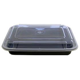 Емкость полипропиленовая прямоугольная с крышкой для СВЧ черная, 1020мл 50 шт/уп