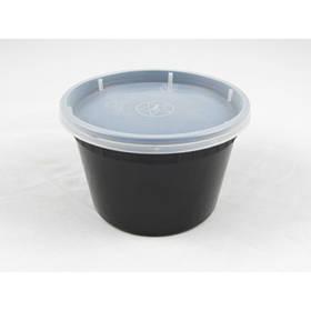 Емкость полипропиленовая круглая с крышкой для СВЧ черная, 480мл 50 шт/уп