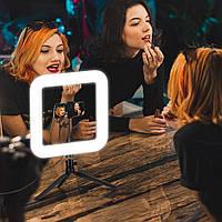 Кольцевая LED лампа Квадратное LED кольцо 28 см D35 селфи лампа с держателем для Youtube Tiktok Vlog макияжа