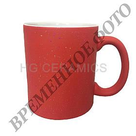 Чашка для сублимации хамелеон с блёстками 330 мл (красный)