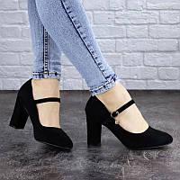 Женские черные туфли на удобном каблуке Morita с ремешком