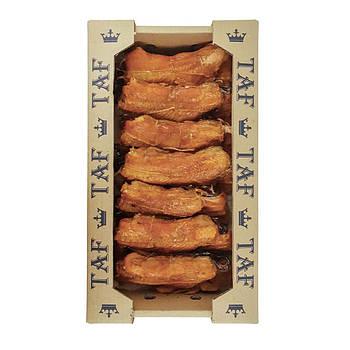 Мясо сёмги горячего копчения на хребтах. Цена указана за ящик 3 кг.