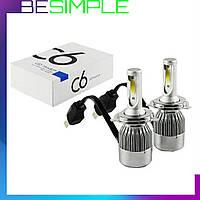 Комплект автомобильных LED ламп C6 H4 / Светодиодные лампы / Ближний, дальний свет