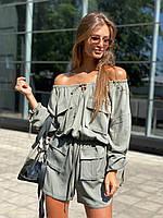 Комбинезон женский стильный с открытыми плечами и накладными карманамиDld2754