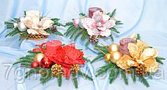Композиция новогодняя со свечой, коллекция А-17