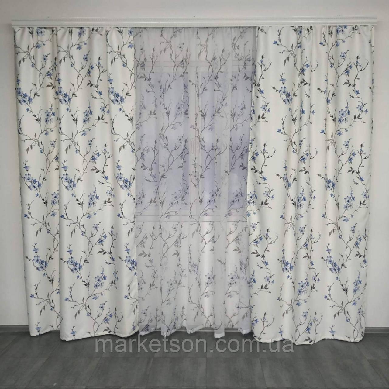 Готовые шторы с тюлью 150х270, тюль 400х270