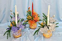 Композиция новогодняя со свечой, коллекция А-19