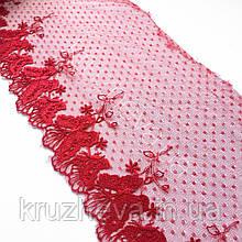 Ажурне мереживо, вишивка на сітці, червоного кольору, ширина 19 см