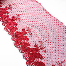 Ажурное кружево вышивка на сетке, красного цвета, ширина 19 см