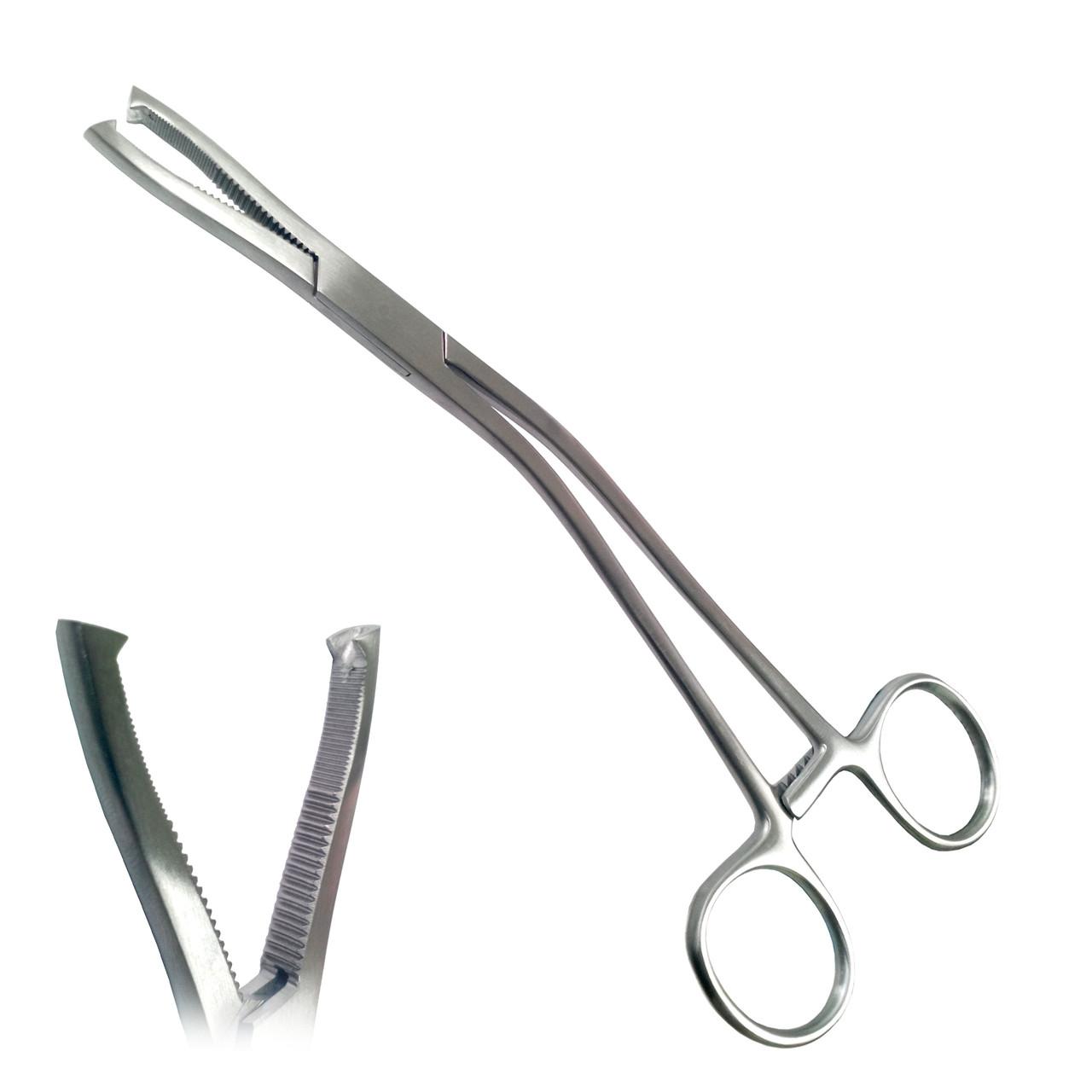 Щипцы для удержания хрящей горизонтально изогнутые зубчатые с зубом и кремальерой по Dingmann. Длина 19 см SURGIWELOMED