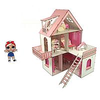 Домик для кукол Солнечная Дача с обоями, шторками, мебелью и текстилем 5 комнат, балконы, терраса