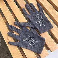 Перчатки темные веточки цветы