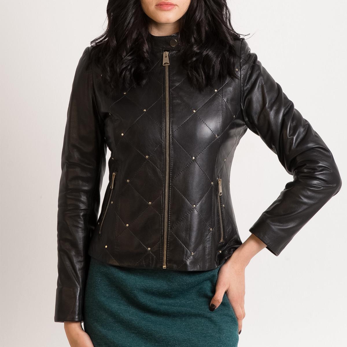 Кожаная куртка VK черная стеганая (Арт. NIK201)
