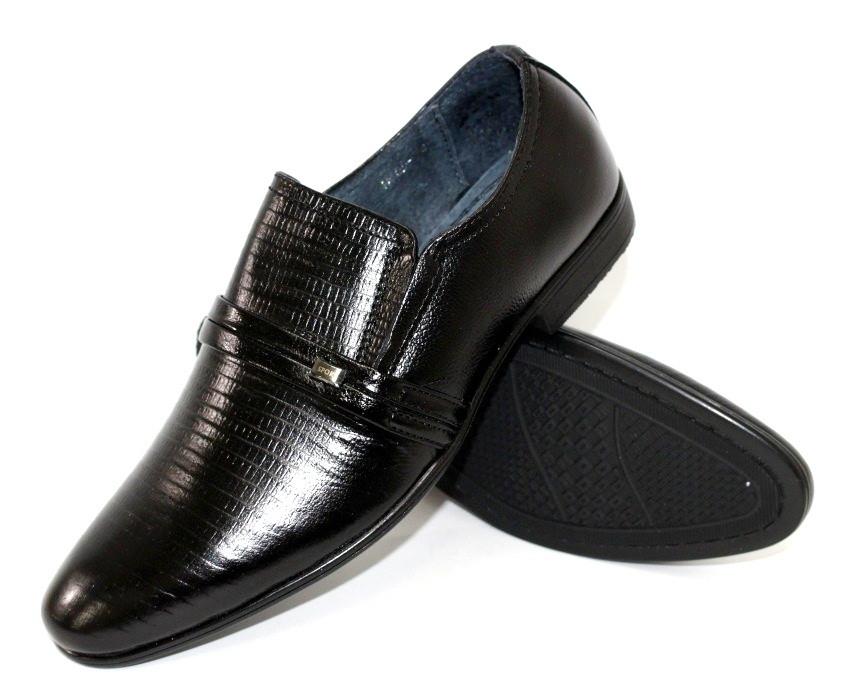 Демисезонная детская и подростковая обувь черные туфли эко кожа