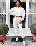 Модный женский костюм с коротким свитшотом. Цвет лавандовый, молочный, серый, чёрный , бежевый, фото 7