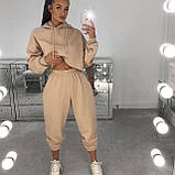 Модный женский костюм с коротким свитшотом. Цвет лавандовый, молочный, серый, чёрный , бежевый, фото 4