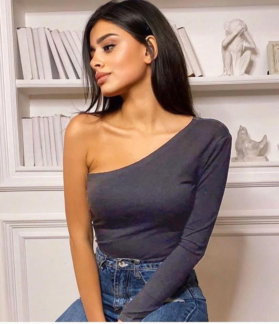 Жіночий боді на одне плече сірий 46