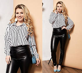 Рубашка Женская Батал, Женская рубашка в полоску Больших размеров, Рубашка женская с отложным воротником длинный рукав,
