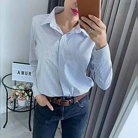 Рубашка Женская Батал, Женская рубашка Больших размеров, Рубашка женская с отложным воротником длинный рукав,