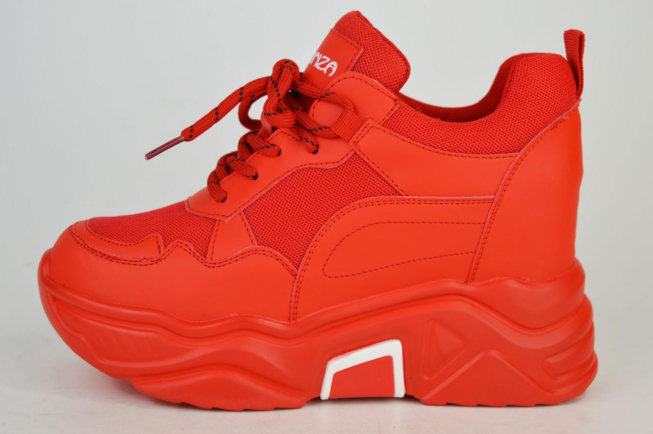 Кроссовки красные на платформе Lonza 8613